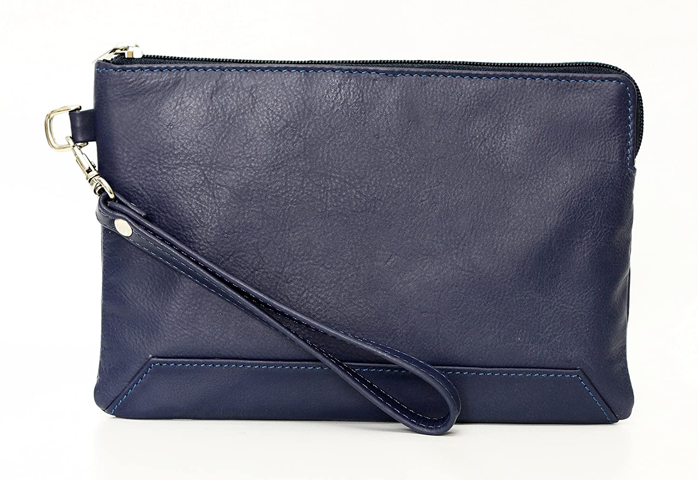Ashlin Genuine Leather Medium Wristlet, Blue [K265-48-66]