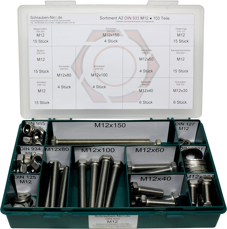 rostfrei | Gewindeschrauben Sechskant-Schrauben DERING Sechskantschrauben M6x12 DIN 933 Edelstahl A2 100 St/ück
