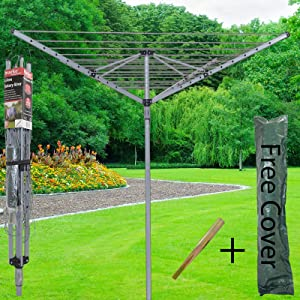 4 Arm 40M Rotary Airer Clothes Dryer Outdoor Laundry Washing Line Ground socket