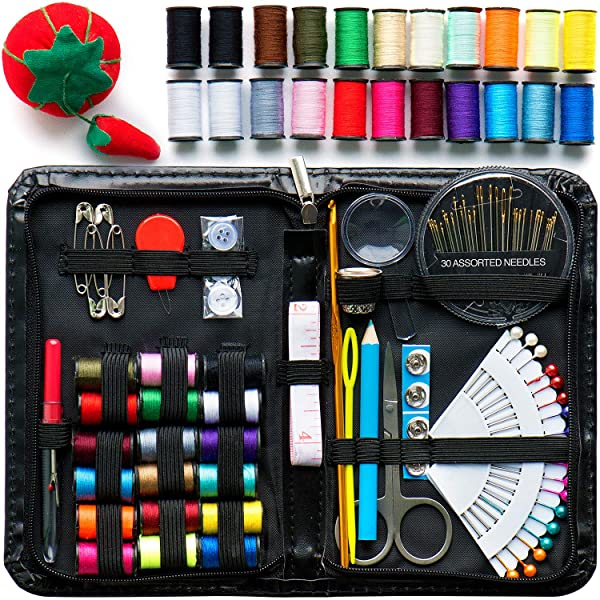 Evergreen Art Supply Sewing Kit Includes 40 Spools of Thread, All You Need, & More! Perfect as a Beginner Sewing Kit, Travel Sewing Kit, Campers, Emergency Sewing Kit & More!