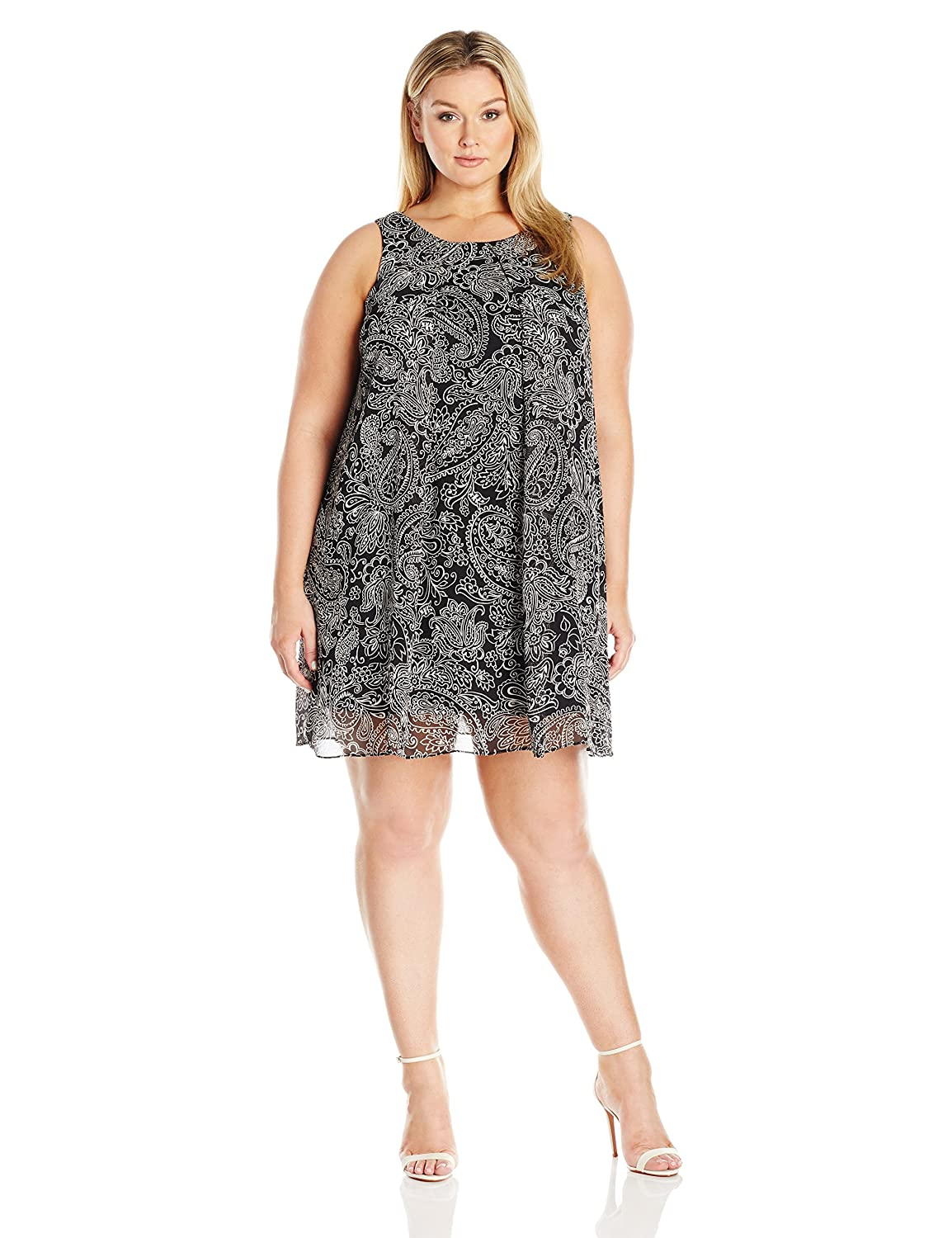 MSK Womens Plus-Size Plus Size Sleeveless Woven Trapeze MSK Women' s Dresses 2064468A