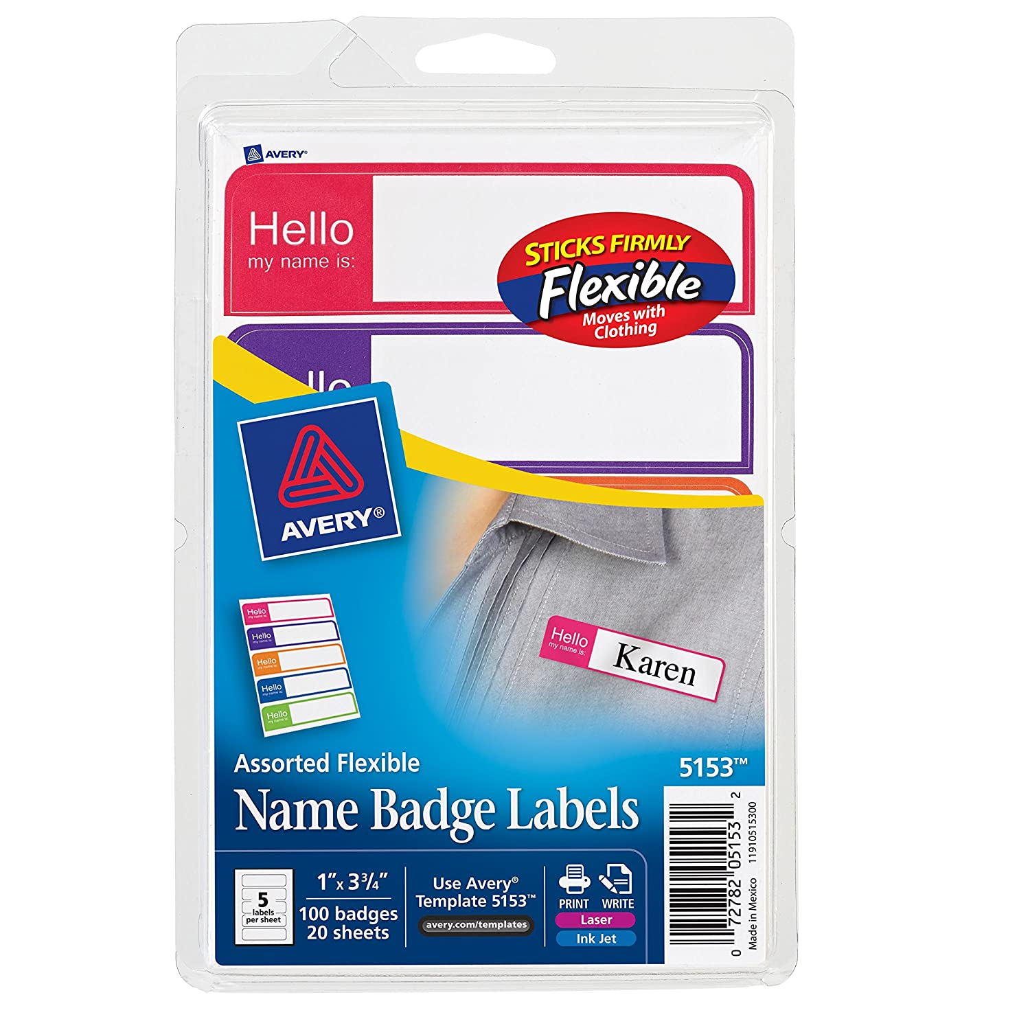 Amazon avery flexible name badge labels assorted colors 1 amazon avery flexible name badge labels assorted colors 1 x 3 34 pack of 100 5153 identification badges office products pronofoot35fo Gallery