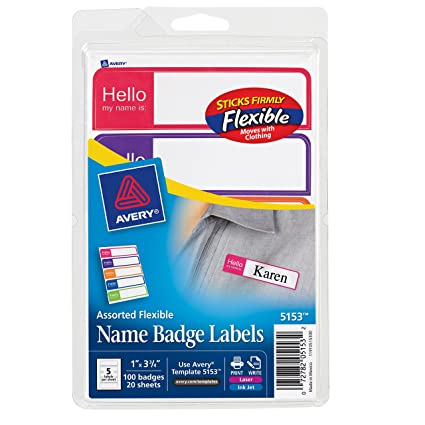 Amazon Avery Flexible Name Badge Labels Assorted Colors 1 X