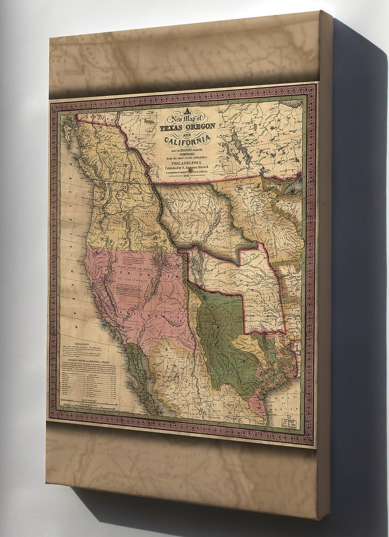 Amazon Com Canvas 16x24 Map Of Texas Oregon California Washington