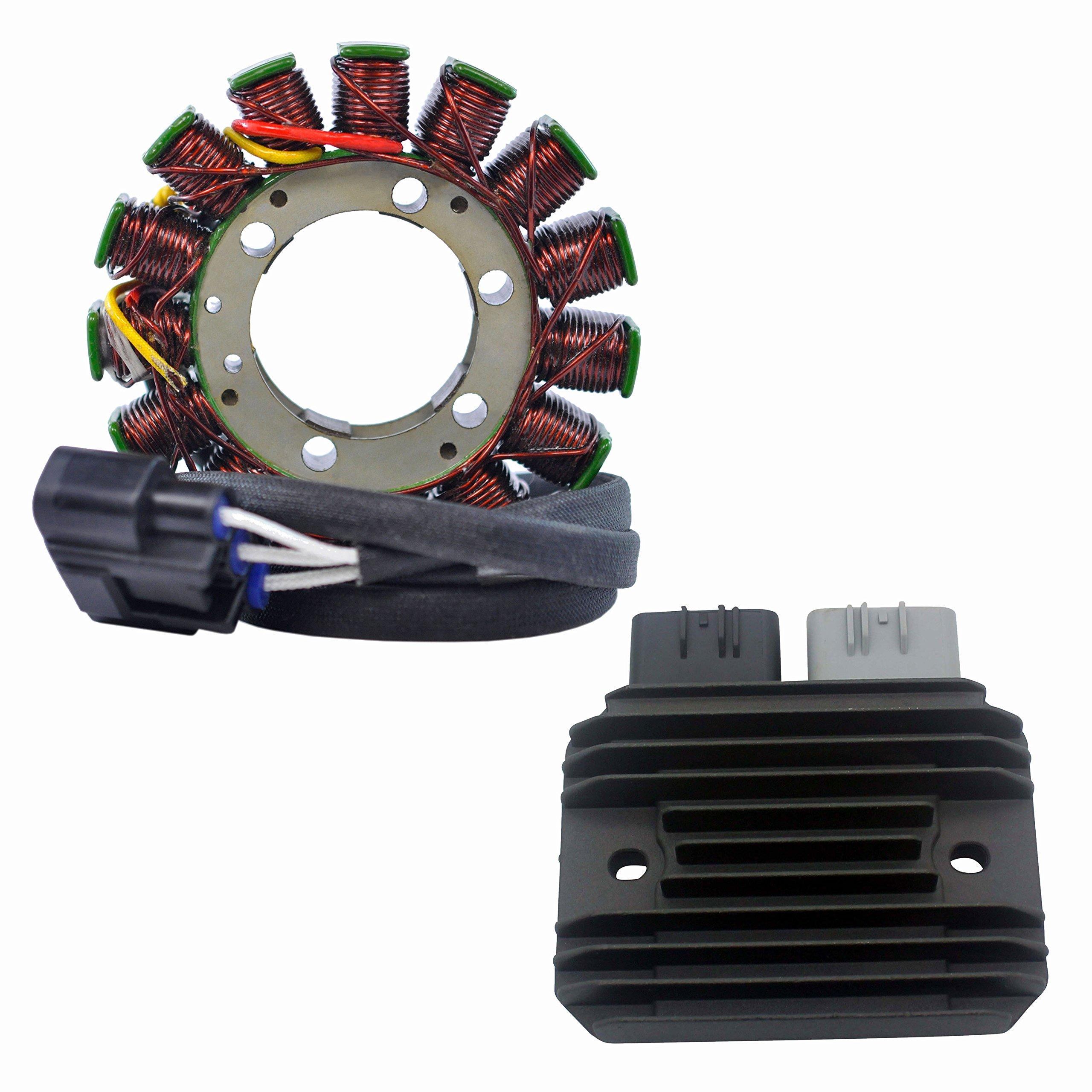 Kit Stator + Mosfet Voltage Regulator Rectifier Fits Kawasaki Ninja ZX-6R 2009-2012 | OEM Repl.# 21003-0083 21066-0028 21066-0731 99999-0377 by RaceTech Electric
