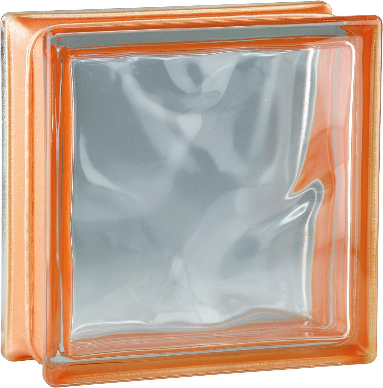 6 St/ück BM Glassteine Wolke Reflex Orange 19x19x8 cm