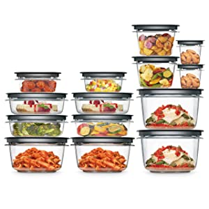 Rubbermaid 2108373 Meal Prep Premier Food Storage Container, 28 Piece Set, Grey
