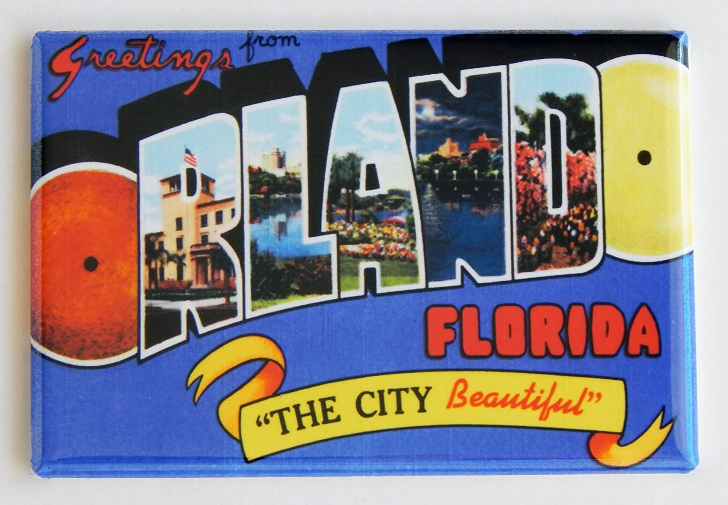Greetings From Orlando Florida Fridge Magnet (2 x 3 inches)