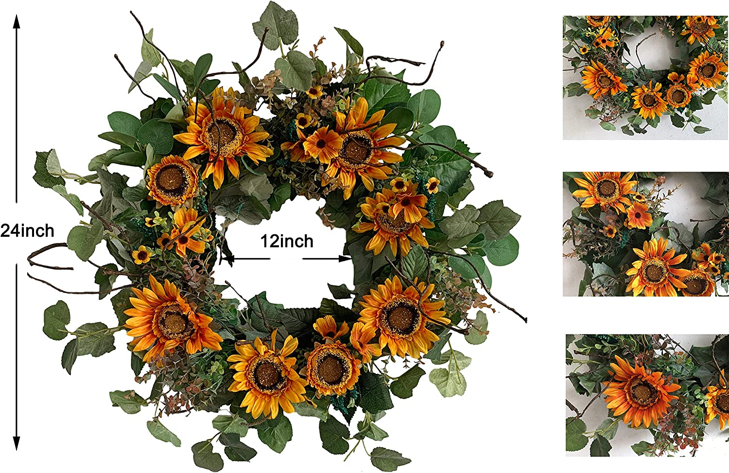 Spring Summer Floral Wreath on Grapevine Base for Front Door Wall Window Welcome Decor 24 inch Vintage Golden Yellow Huashen Sunflower Wreath with Green Leaves