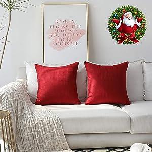 Kevin Textile Christmas Retro Farmhouse Checkered Weaving Cotton Linen Decorative Throw Pillow Case Cushion Cover Pillowcase for Sofa, Set of 2, 20inch (50cm), Chilli Pepper Red