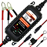 MOTOPOWER MP00205A 12V 800mA Fully Automatic Battery Charger / Maintainer for Cars, Motorcycles, ATVs, RVs, Powersports, Boat and More. Rescue and Recover Batteries