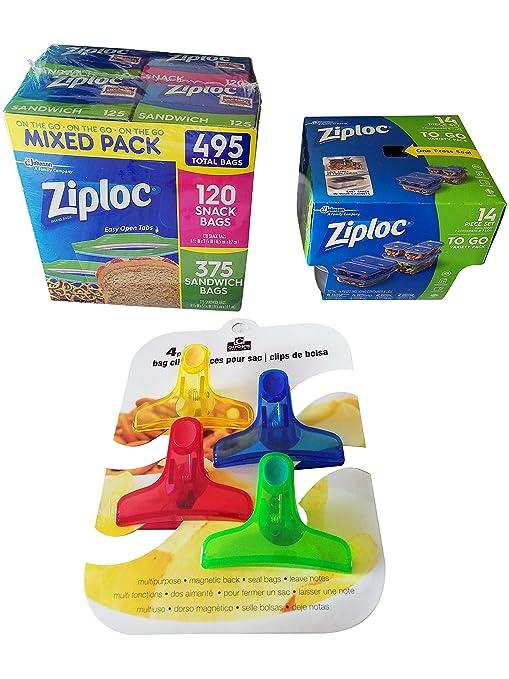 Ziploc - Paquete de 120 bolsas de aperitivos, 375 bolsas de ...