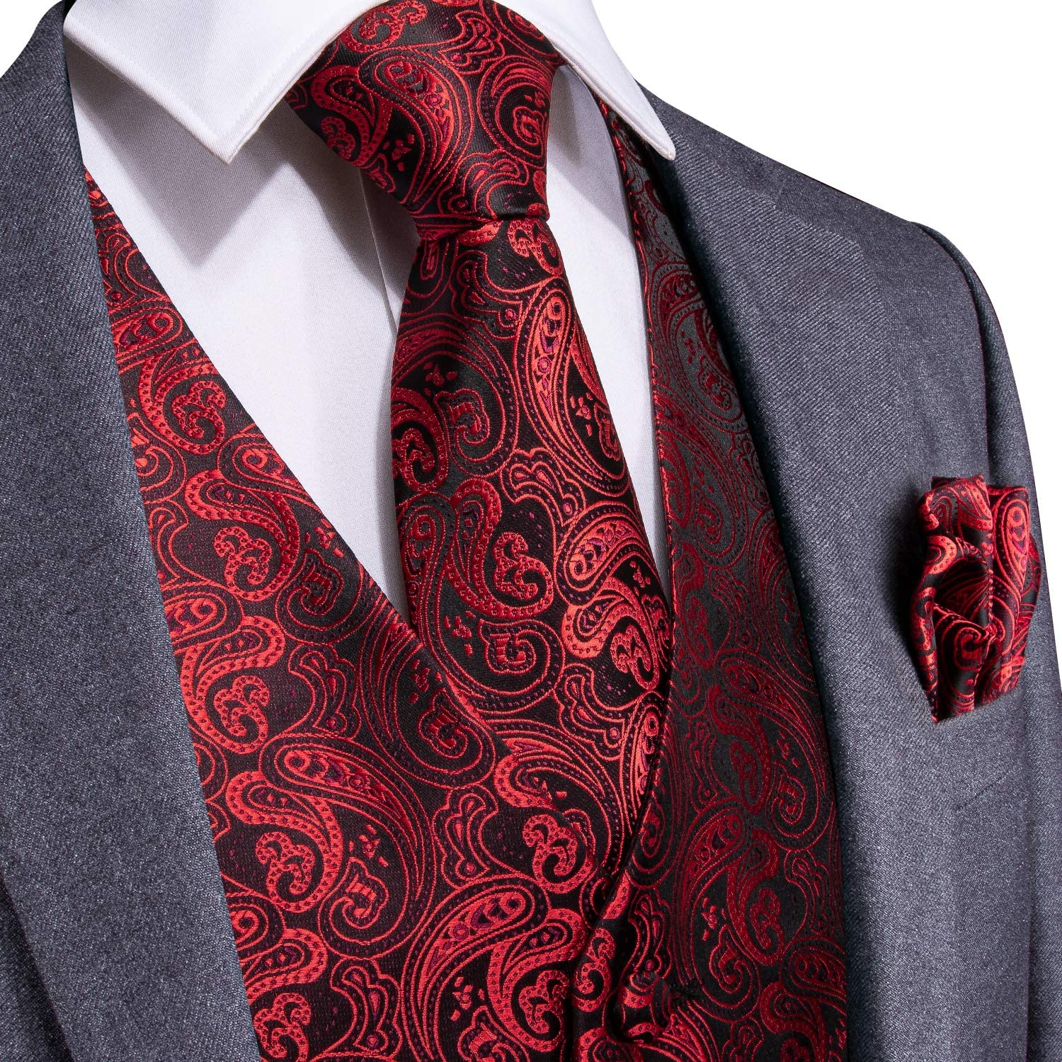 DiBanGu Men Vest and Tie Set 4 Pcs Paisley Tie Pocket Square Cufflinks Set Dress Waistcoat Vest Formal