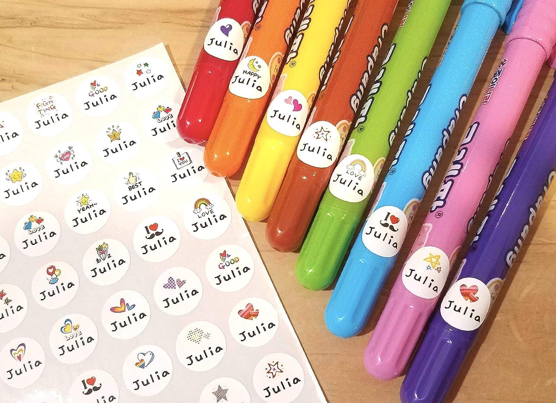 cat Name labels 65 personalised waterproof stickers School nursery