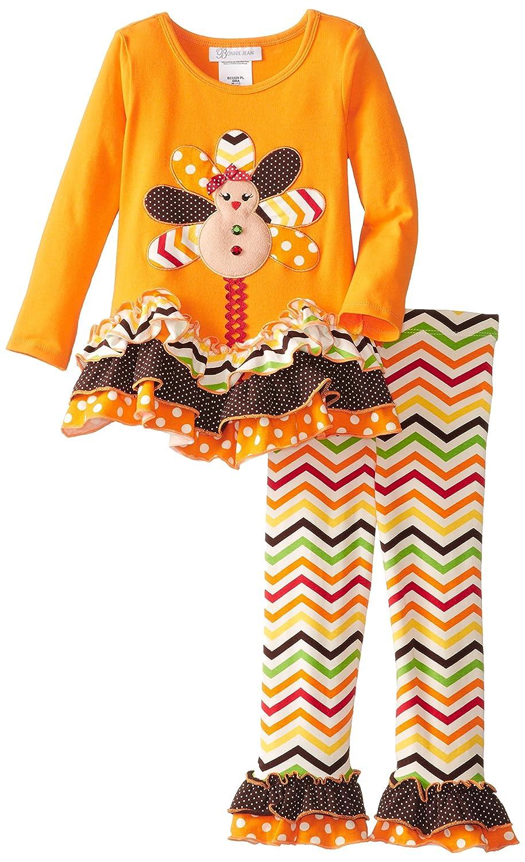 4971866ceecbb Amazon.com: Bonnie Jean Little Girls' Gingerbread Turkey Legging Set,  Orange, 3T: Clothing
