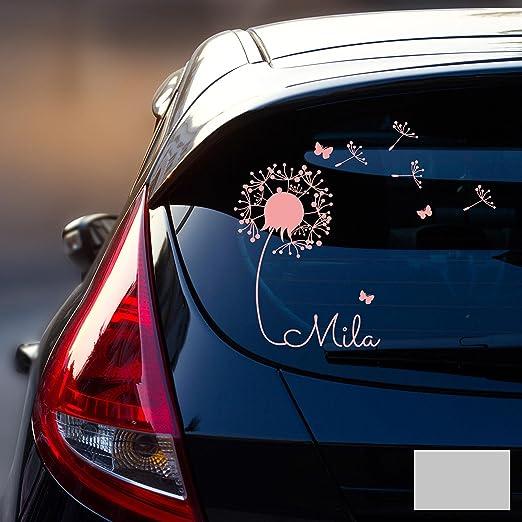 ilka parey wandtattoo welt® M1864 Adhesivo decorativo para luna trasera del coche, pegatina con nombre de bebé y diente de león: Amazon.es: Juguetes y juegos