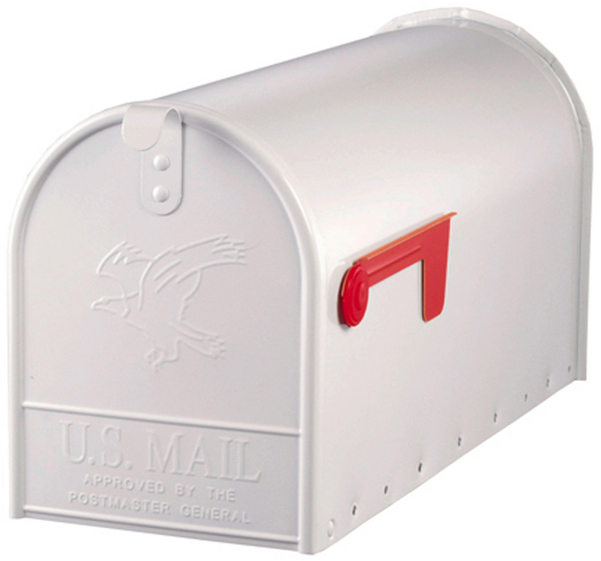 Shop PostMaster Classic 8.125-in x 10.5-in Metal White Post Mount Mailbox at Lowes.com