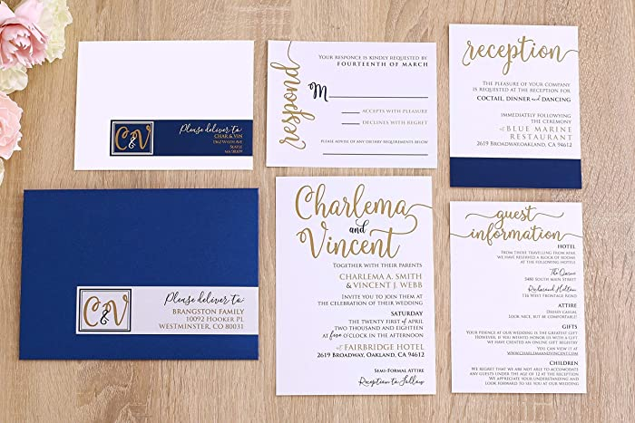 Amazon Com Navy And Gold Wedding Invitation Suite Elegant Modern