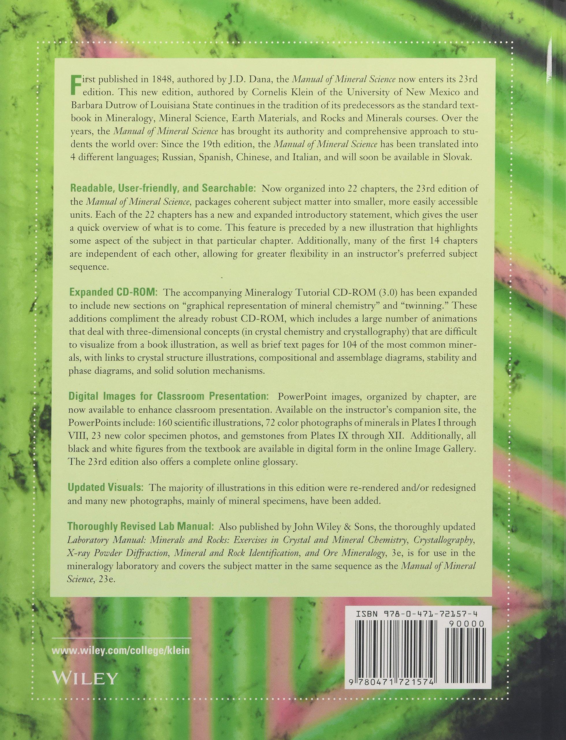 Manual of Mineral Science: Cornelis Klein, Barbara Dutrow: 8580000794779:  Books - Amazon.ca