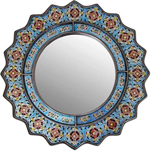 NOVICA Floral Reverse Painted Glass Wood Wall Mounted Mirror