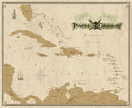 Map Of Pirates Of The Caribbean Amazon.com: Pirates of the Caribbean Canvas Wall Map with West