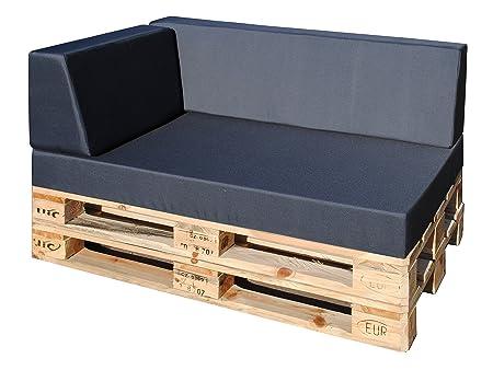 Lujo Cojín palé exterior (3 piezas, asiento acolchado 120 x ...