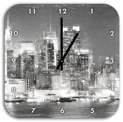 New York City Skyline de noche efecto carbón, reloj de pared con las manos a