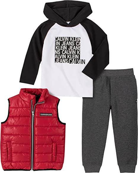 Calvin Klein Conjunto De Pantalones De 3 Piezas Para Nino Rojo Negro Gris 4 Amazon Com Mx Ropa Zapatos Y Accesorios