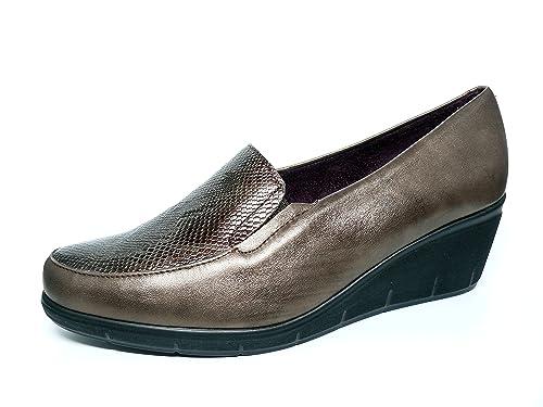 al por mayor mejor autentico estilos clásicos Zapatos cómodos Mujer PITILLOS - Piel Color Moka Combinado Piel Grabado,  elásticos Laterales - 1438-200