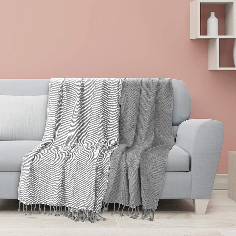EHC Luxury Pack de 2 mantas de sofá individual de algodón Chevron, 125x 150cms - Gris