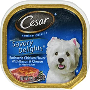 CESAR SAVORY DELIGHTS Rotisserie Chicken Flavor with Bacon and Cheese Dog Food Trays (Pack of 24)
