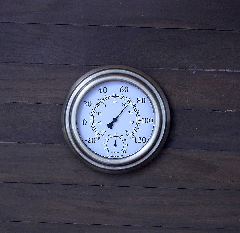 Bronze Bjerg Instruments 8 Metal Decorative Indoor//Outdoor Thermometer and Hygrometer