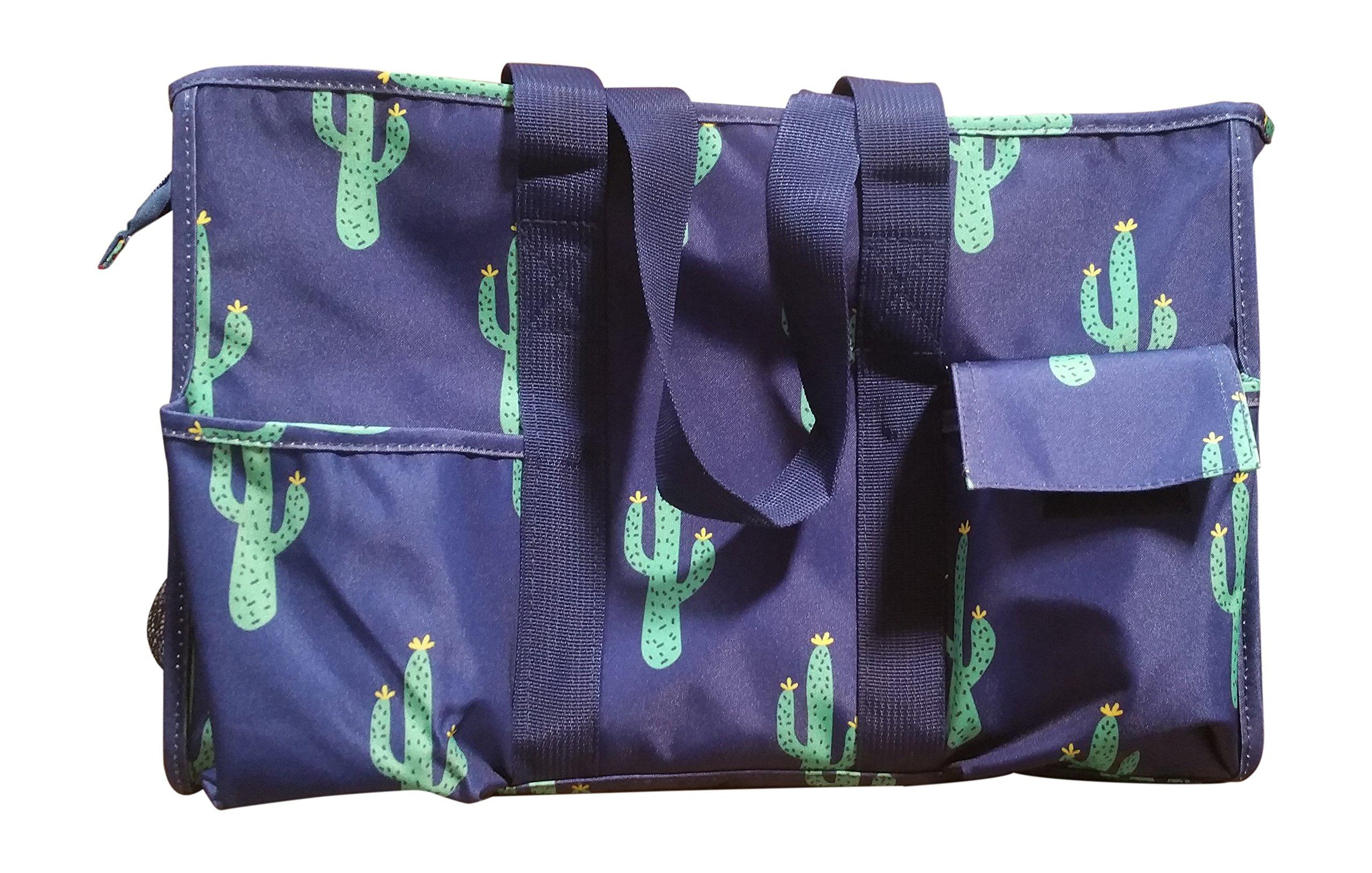 Carryall 7 Pocket Tote Bag With Zipper Closure (Cactus)