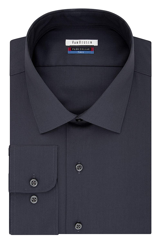 Big and Tall Van Heusen Mens TALL FIT Dress Shirts Flex Collar Solid