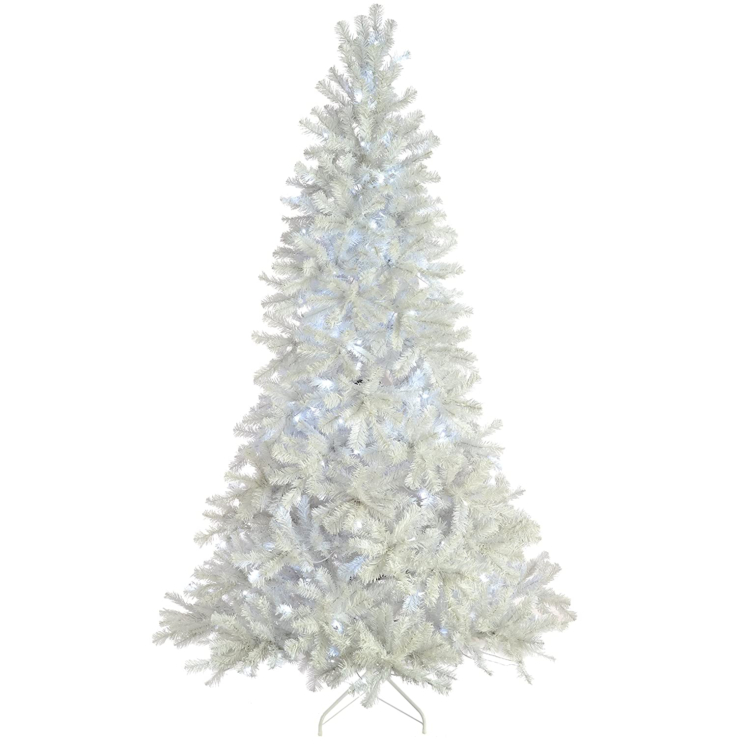 Pre-Lit Deluxe White Pine Pre-Lit Multi-Function Christmas Tree, 1.8 m - 6 feet with 250-LED, White