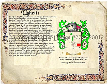 Amazon com: Ughetti Coat of Arms/ Family Crest on Fine Paper and