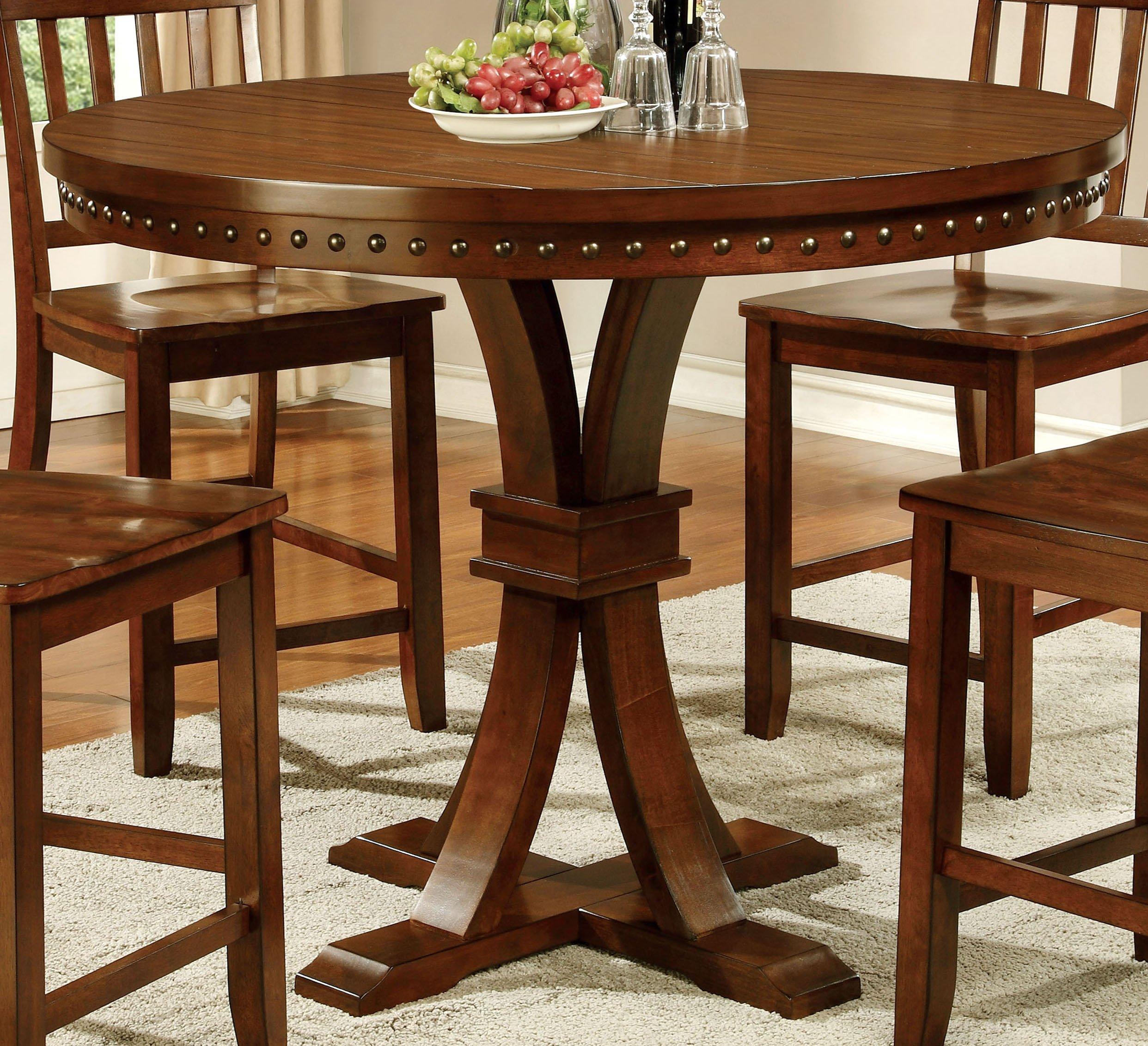 Furniture of America Castile Transitional Pub Table, Dark Oak