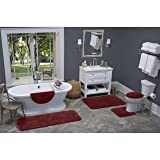 Maples Rugs Toilet Seat Cover - Cloud Bath Washable Elongated Toilet Lid Covers [Made in USA] for Bathroom, Crimson Victory