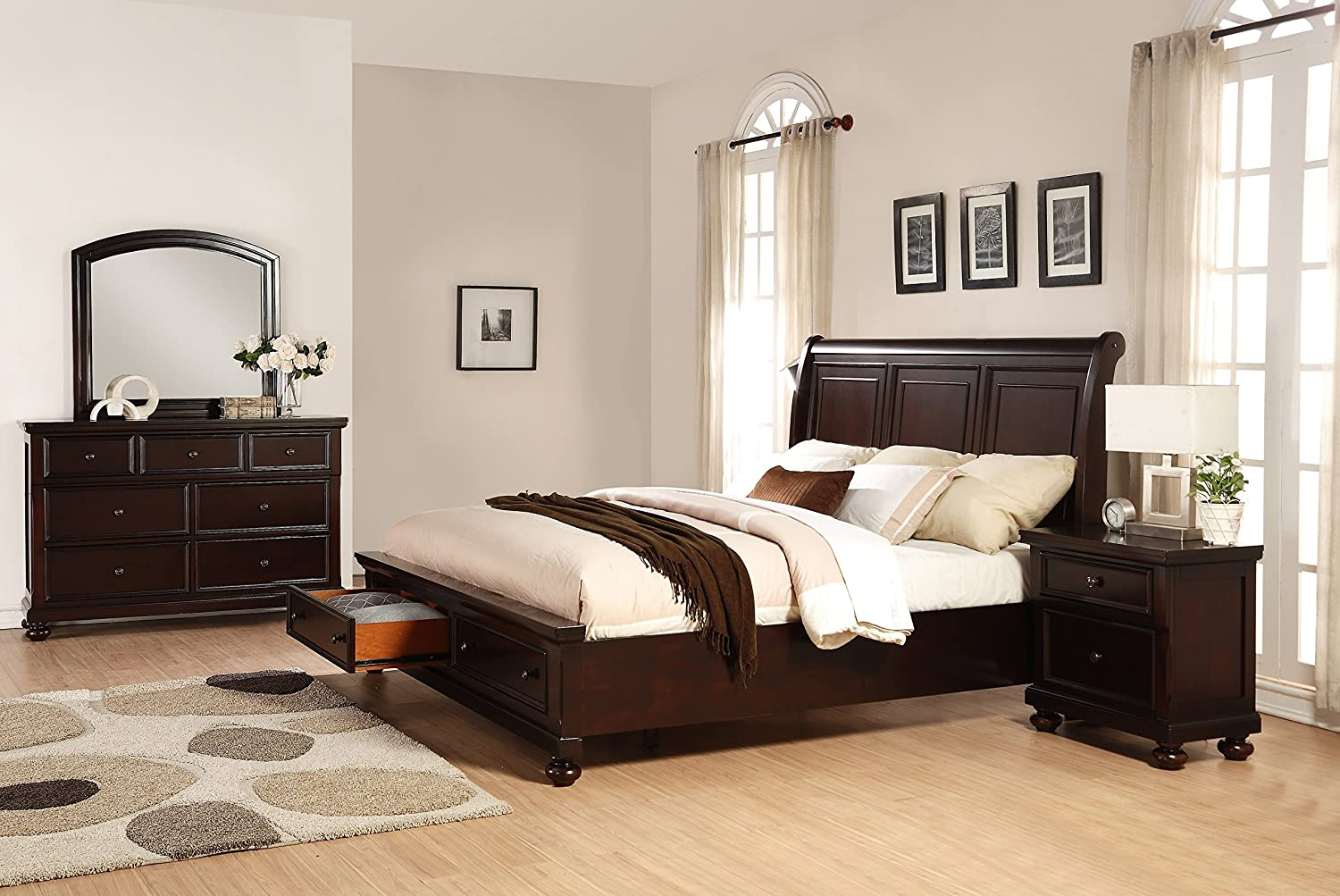Roundhill Furniture Brishland Storage Bedroom Set Includes Queen Bed - Dresser - Mirror and Nighstand - Rustic Cherry