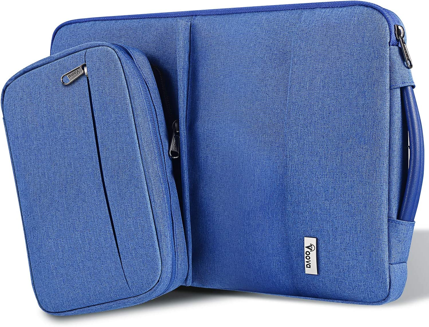 Voova 14-15.6 Inch Laptop Sleeve Cover Case, Upgrade Smart Computer Hand Bag with Detachable Accessory Pocket Compatible with MacBook Pro 15 16, Surface Book 2/Laptop 3 15 Chromebook, Waterproof, Blue