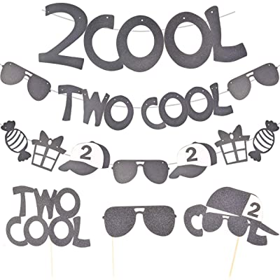 Two Cool 2nd Birthday Decorations, Pack of 6 Unisex Second Birthday Party Supplies, 2 Cool Banner, Two Cool Sunglasses Banner, Cupcake Toppers, Second Birthday Boy Girl Party Supplies: Kitchen & Dining