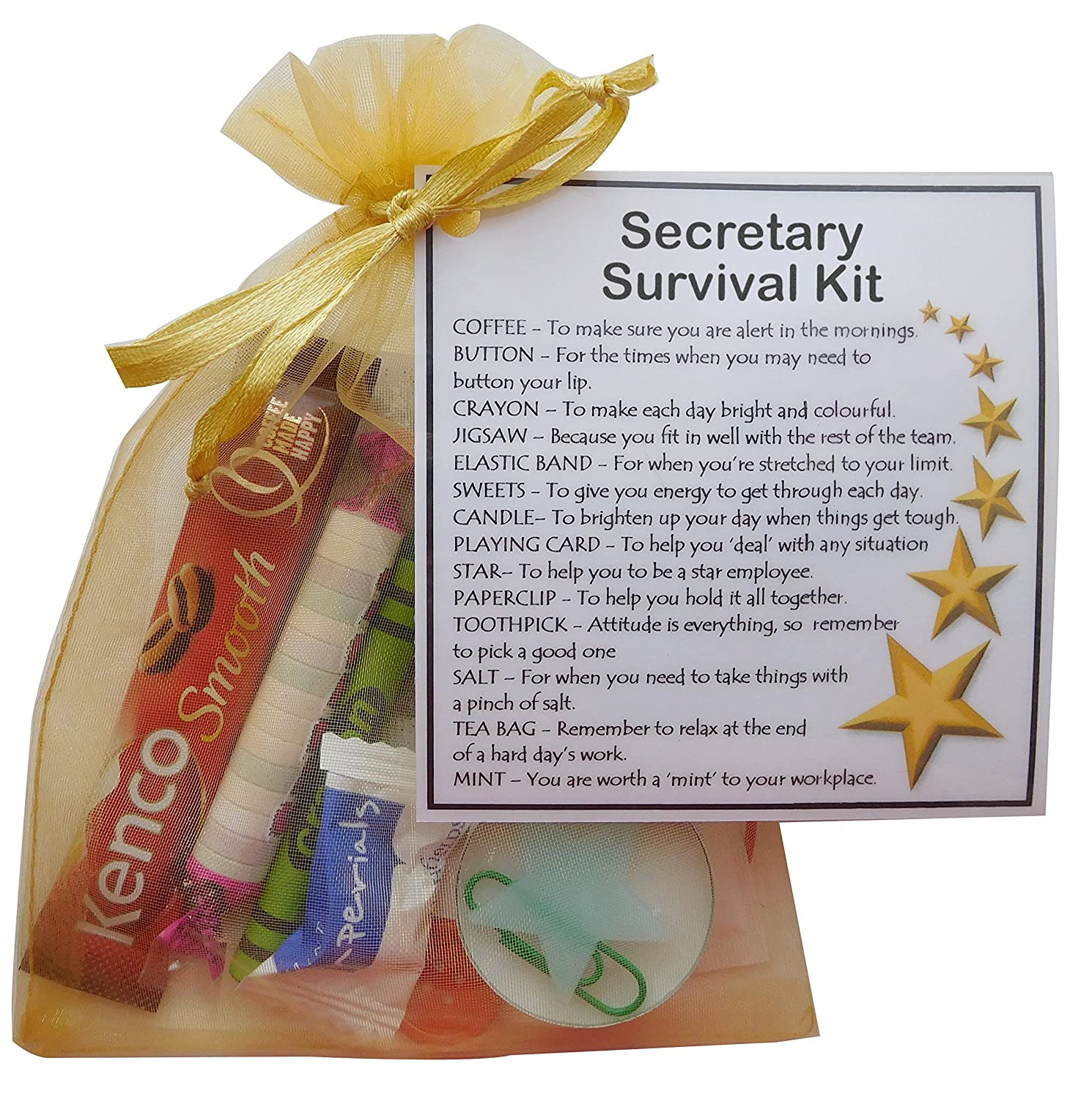 Secretary Survival Kit Unique Fun Novelty Gift /& Card All In One