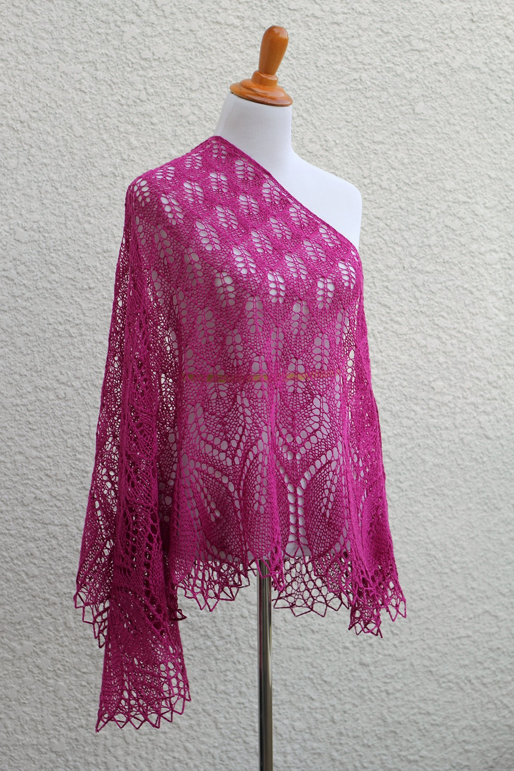 Knit shawl in fuchsia color, gift for her