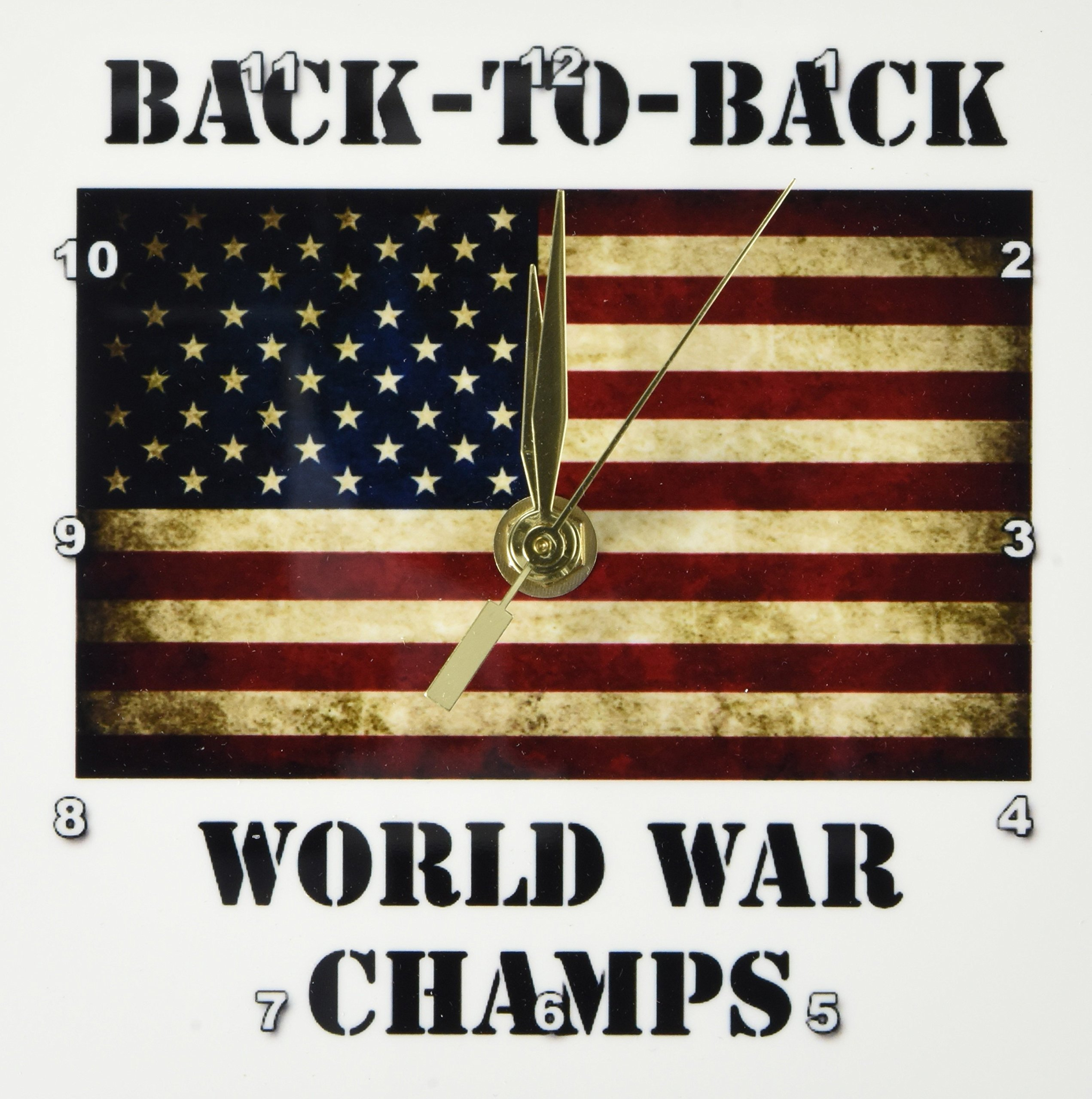3dRose dc_123038_1 Back to Back World War Champs America American Flag Desk Clock, 6 by 6-Inch