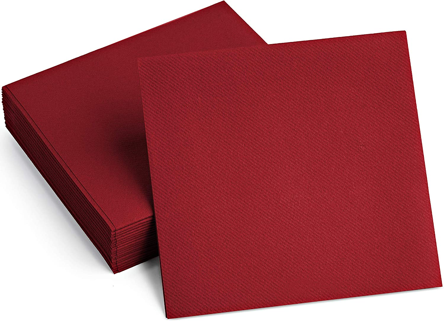 100 Linen-Feel Colored Paper Napkins - Decorative Cloth-Like BURGUNDY Luncheon Napkins - Soft And Absorbent. For Kitchen, Party, Wedding, Dinner Or Any Occasion. (Pack of 100)