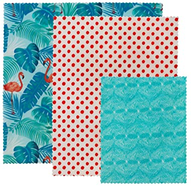 LILY BEE WRAP Beeswax Wrap Reusable Food Wraps   3 Pack Sustainable Zero Waste Bees Wax Food Wrappers   Biodegradable & Plastic Free Clingwrap Alternative(Flamingo Island, 3 Pack).