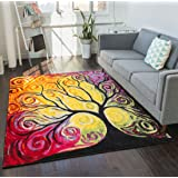 """Fairytale Multi Yellow Orange Red Nature Modern Abstract Painting Brush Stroke Area Rug 8x10 ( 7'10"""" x 9'10"""") Easy Clean Stain Fade Resistant Shed Free Contemporary Art Geometric Tree Thick Soft Plush"""
