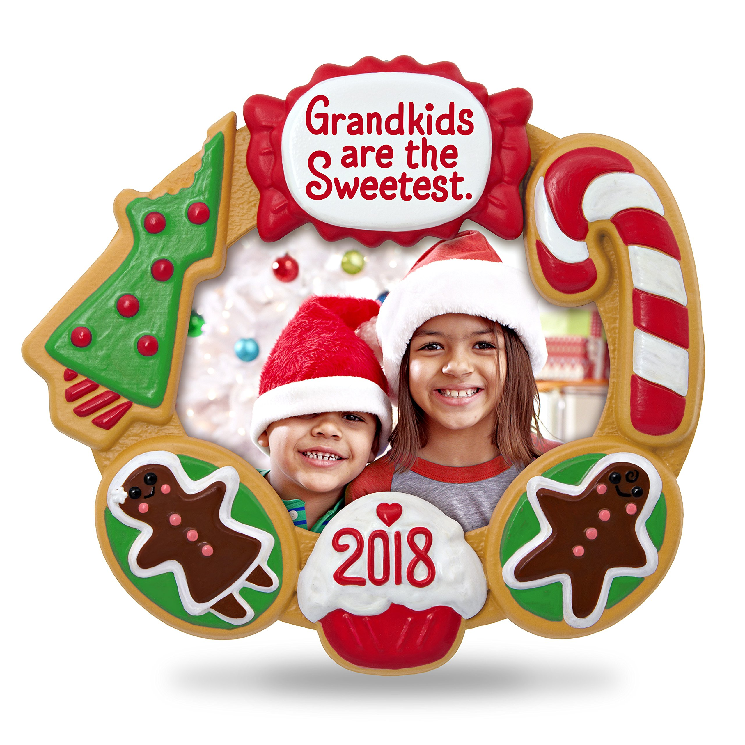 Hallmark Keepsake Christmas Ornament 2018 Year Dated, Grandkids Are the Sweetest Picture Frame, Photo Frame