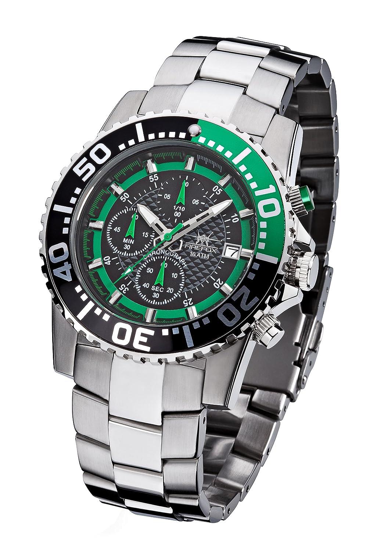 FIREFOX ZION FFS17-108b schwarz-grÜn Herrenuhr Armbanduhr Chronograph massiv Edelstahl Sicherheitsfaltschließe 10 ATM