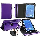 Emartbuy® Alcatel OneTouch Pixi 3 10 Zoll Tablet Universal ( 9 - 10 Zoll ) Lila Premium PU Leder 360GradRotierendeStandFolioGeldbörseTascheHülle + Lila Eingabestift